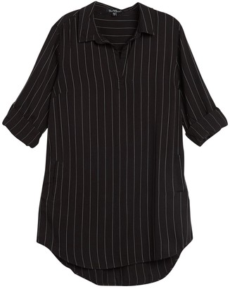 Velvet Heart Aveline Pinstripe Roll Sleeve Shirt Dress