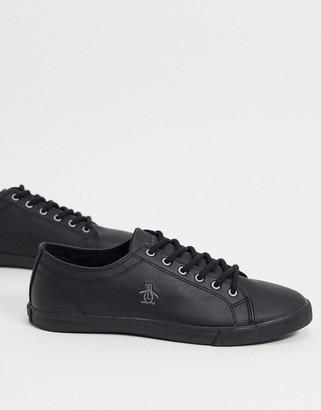 Original Penguin lace up sneakers in black pu