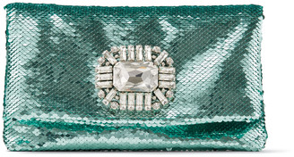 Jimmy Choo TITANIA Mint Micro Paillettes Fabric Clutch Bag with Crystal Buckle