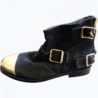 Balmain For H&m Black Suede Ankle boots