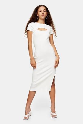 Topshop Ecru Asymmetric Ribbed Jersey Midi Dress