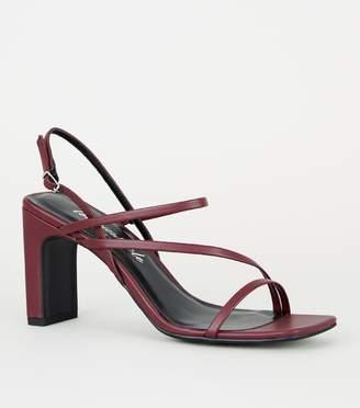 New Look Burgundy Leather-Look Strappy Slim Block Heels