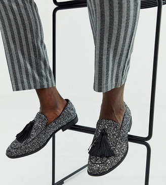 ASOS DESIGN Wide Fit loafers in black glitter with tassel detail