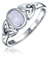 Bling Jewelry Gemstone Oval Celtic Knot Triquetra Ring Band Sterling Silver