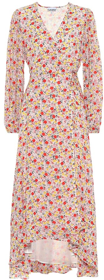 Ganni Exclusive to Mytheresa Floral georgette wrap dress