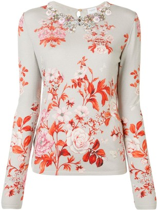 Giambattista Valli Jewelled-Neck Floral Intarsia Jumper