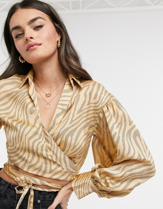 ASOS DESIGN long sleeve relaxed satin shirt in print with wrap tie detail