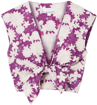 Miguelina Marcy Cropped Tie-front Floral-print Cotton-voile Top
