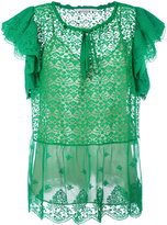 Stella McCartney ruffled short sleeved top - women - Polyester/Silk/Cotton - 38
