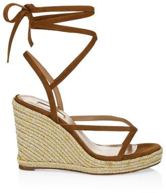 Aquazzura Ramatuelle Suede Espadrille Wedge Sandals