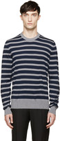 Dolce & Gabbana Navy & Grey Wool Sweater