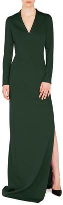 Akris V-Neck Long-Sleeve Side-Slit Silk Stretch-Crepe Evening Gown