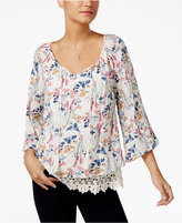 Style&Co. Style & Co Petite Printed Lace-Trim Peasant Top, Only at Macy's
