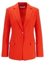 HUGO BOSS - Slim Fit Jacket In Traceable Stretch Virgin Wool - Open Blue