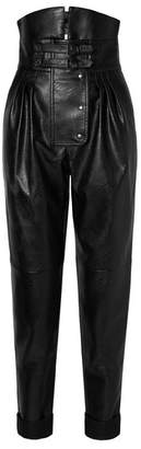 Maison Margiela Belted Faux Leather Tapered Pants - Black