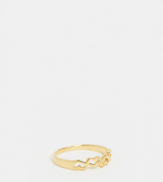 Asos Design DESIGN sterling silver with gold plate ring with tiny hearts