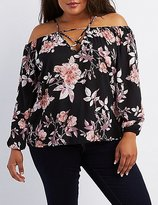 Charlotte Russe Plus Size Floral Cold Shoulder Top
