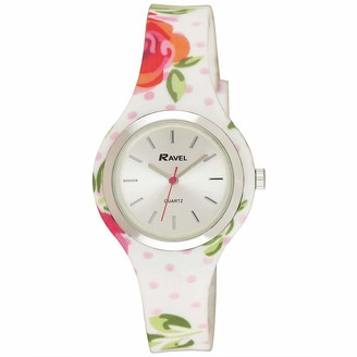 Ravel Women's Floral Quartz Watch with Patterned Silicone Strap - White/Rose
