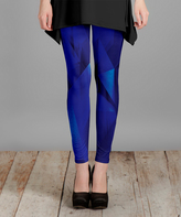 Lily Blue Abstract Slim-Leg Pants - Plus Too