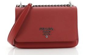 Prada Chain Flap Crossbody Bag Saffiano and Soft Calf Small
