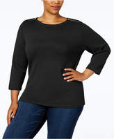 Karen Scott Plus Size Cotton Zip-Shoulder Sweater, Created for Macy's