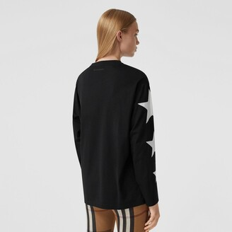 Burberry Long-sleeve Star Motif Cotton Oversized Top