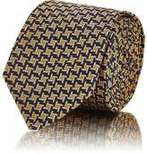 Barneys New York MEN'S ASYMMETRICAL SQUARE-PATTERN SILK NECKTIE