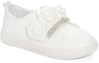 Ositos Shoes Girls' Sneakers WHITE - White Floral Rhinestone Slip-On Sneakers - Girls