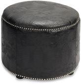 Safavieh Hudson Leather Hogan Ottoman - Black Crocodile