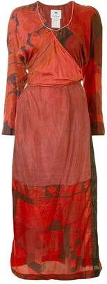 Marine Serre Mixed-Print Surplice Dress