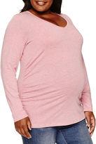 A.N.A a.n.a Long Sleeve V Neck T-Shirt-Womens Plus Maternity