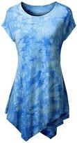 Honeystore Women's Asymmetrical Hem T Shirt Short Sleeve Tie Dye Print Tunic Top L