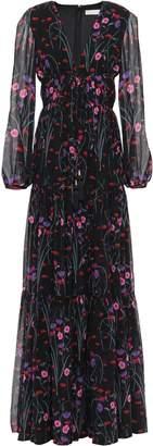 Borgo de Nor Freya Gathered Printed Silk-chiffon Maxi Dress