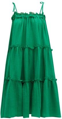 Lisa Marie Fernandez Ruffled Linen-blend Dress - Womens - Green