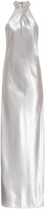 Galvan Eve hammered-satin dress