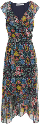 Rebecca Minkoff Ruffled Printed Chiffon Midi Wrap Dress