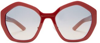Prada Hexagon Acetate Sunglasses - Womens - Red