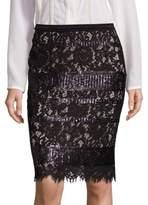 Elie Tahari Violet Sequin Lace Pencil Skirt