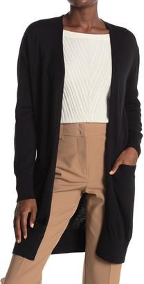Donna Karan Long Sleeve Pocket Silk Blend Cardigan