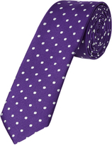 Oxford Silk Tie Spot Skny Purple X