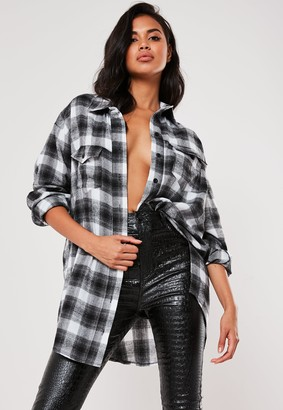 Missguided Grey Brushed Oversized Basic Check Shirt