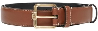 Burberry Monogram Motif Topstitched Leather Belt