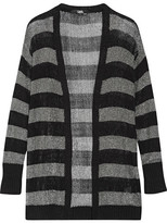 Karl Lagerfeld Striped Metallic Stretch-knit Cardigan - Black