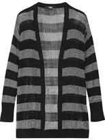 Karl Lagerfeld Striped Metallic Stretch-knit Cardigan - medium