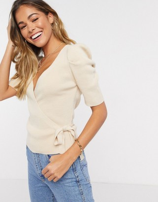 ASOS DESIGN wrap top with puff shoulder in cream