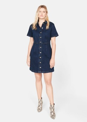 MANGO Violeta BY Button denim dress dark blue - 16 - Plus sizes
