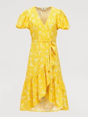 Very Linen Wrap Ruffle Front Midi Dress - Print