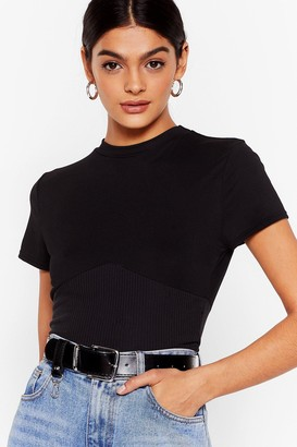 Nasty Gal Womens Check Rib Out High Neck Crop Top - Black