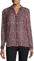 Laundry by Shelli Segal Metallic-Thread Print Blouse, Rich Garnet