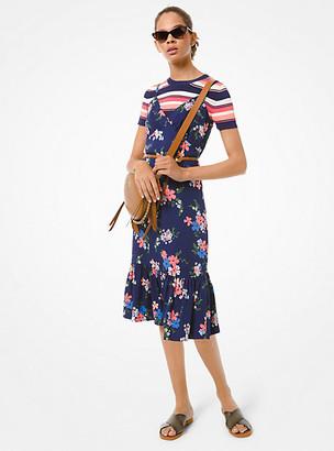 MICHAEL Michael Kors MK Floral Viscose Slip Dress - Coral Peach - Michael Kors